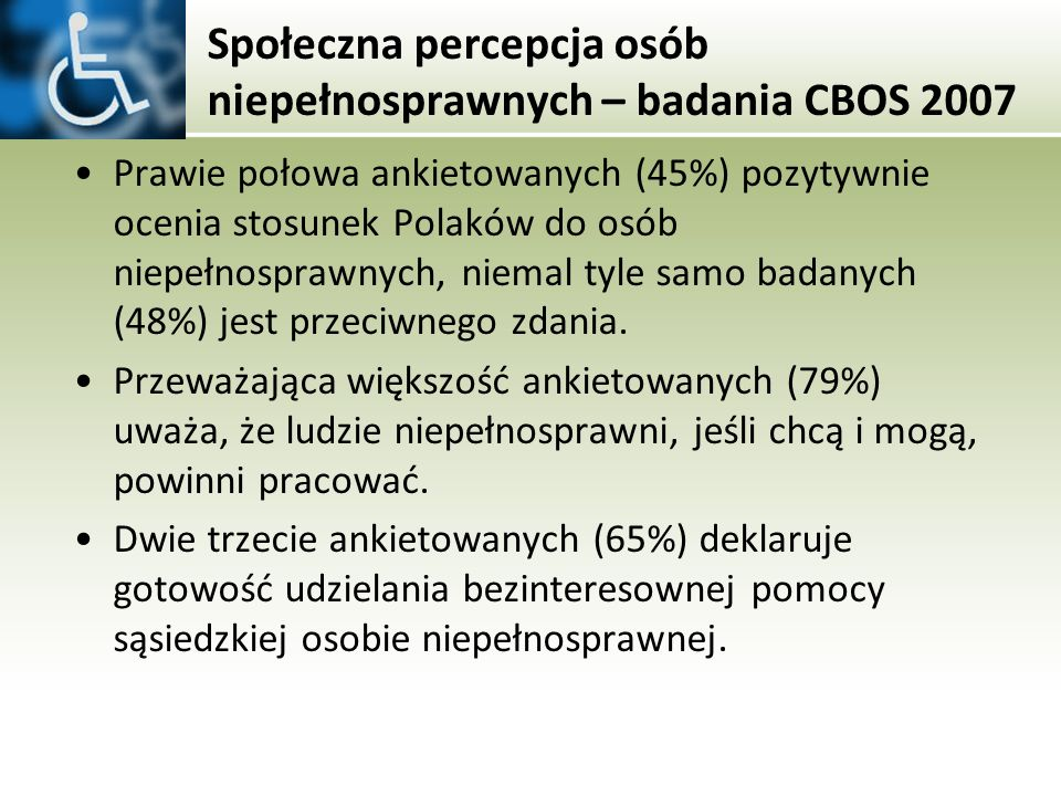 Społeczna percepcja osób niepełnosprawnych – badania CBOS 2007 Prawie połowa ankietowanych (45%) pozytywnie ocenia stosunek Polaków do osób niepełnosp