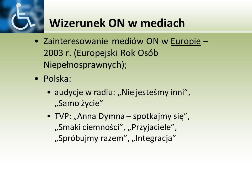 Wizerunek ON w mediach Zainteresowanie mediów ON w Europie – 2003 r. (Europejski Rok Osób Niepełnosprawnych); Polska: audycje w radiu: Nie jesteśmy in