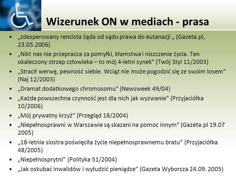 Wizerunek ON w mediach - prasa zdesperowany rencista żąda od sądu prawa do eutanazji (Gazeta.pl, 23.05.2006) Nikt nas nie przeprasza za pomyłki, kłams