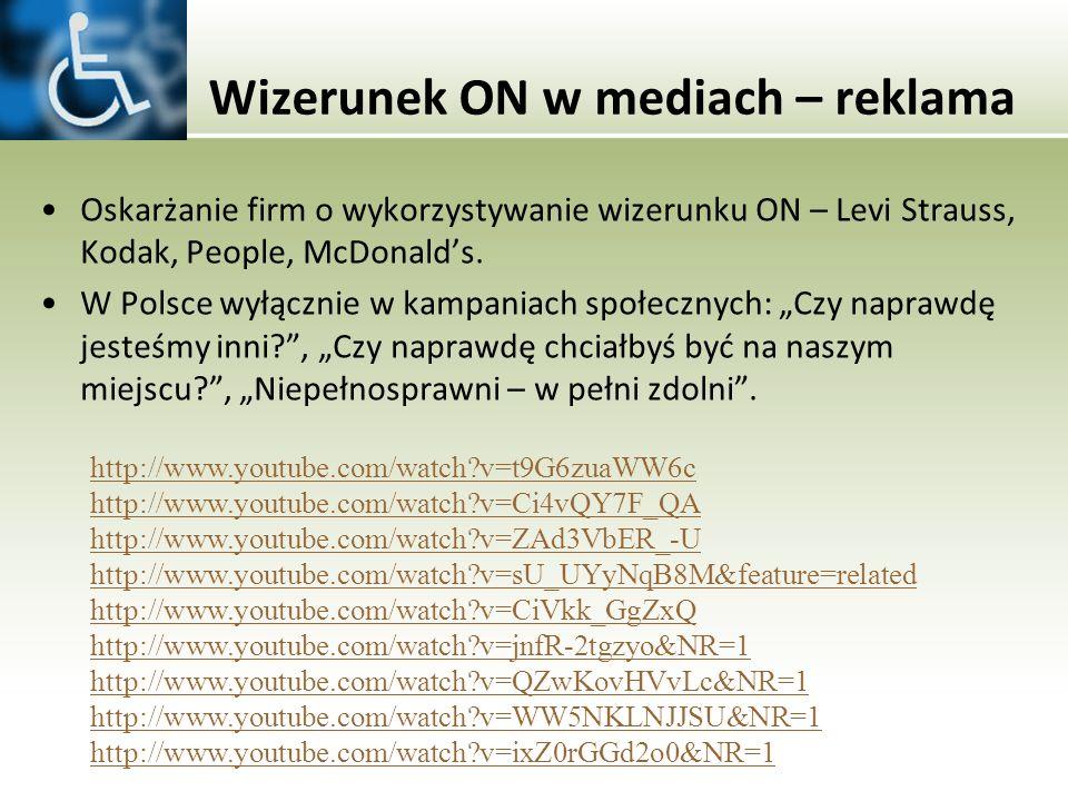 Wizerunek ON w mediach – reklama Oskarżanie firm o wykorzystywanie wizerunku ON – Levi Strauss, Kodak, People, McDonalds. W Polsce wyłącznie w kampani