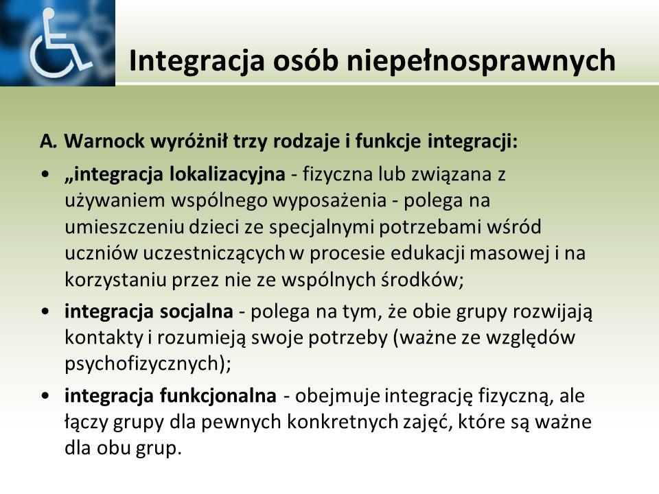 Integracja osób niepełnosprawnych A. Warnock wyróżnił trzy rodzaje i funkcje integracji: integracja lokalizacyjna - fizyczna lub związana z używaniem