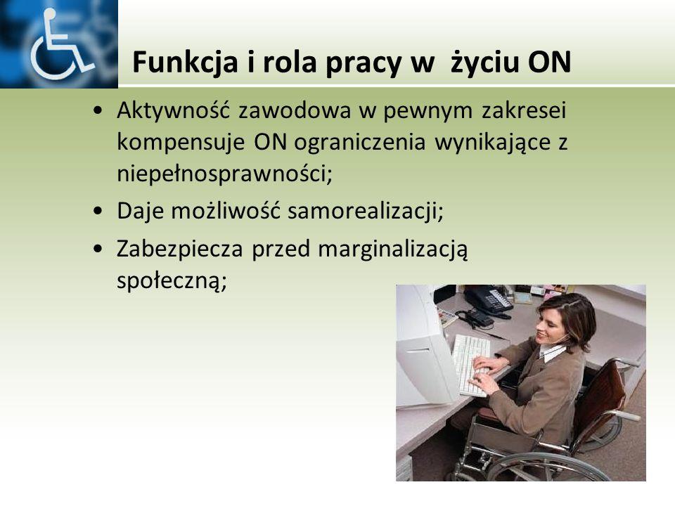 Funkcja i rola pracy w życiu ON Aktywność zawodowa w pewnym zakresei kompensuje ON ograniczenia wynikające z niepełnosprawności; Daje możliwość samore