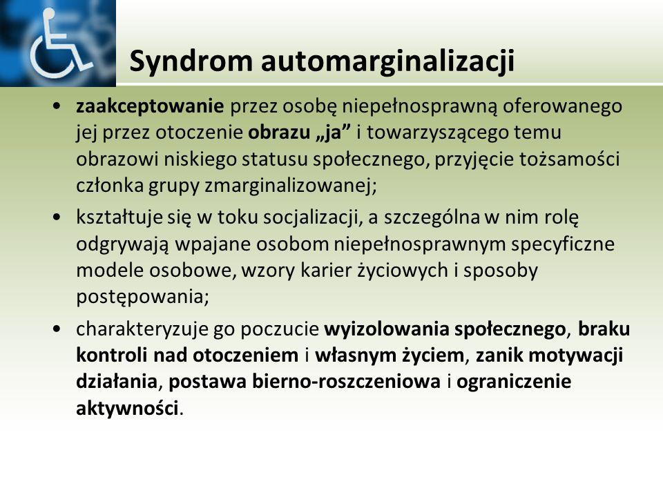 Syndrom automarginalizacji zaakceptowanie przez osobę niepełnosprawną oferowanego jej przez otoczenie obrazu ja i towarzyszącego temu obrazowi niskieg