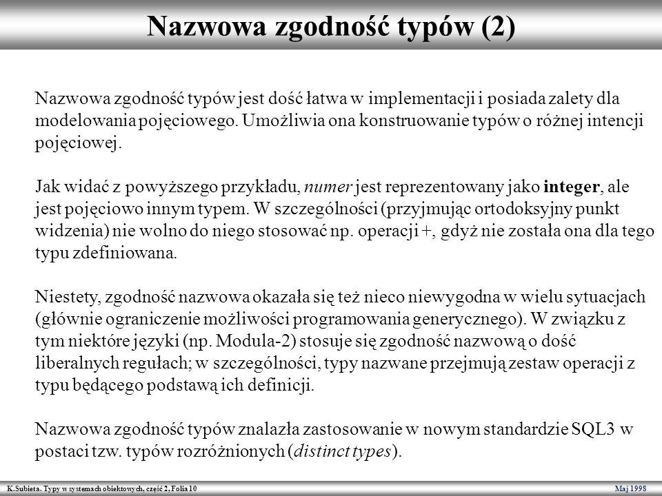 K.Subieta. Typy w systemach obiektowych, część 2, Folia 10 Maj 1998 Nazwowa zgodność typów (2) Nazwowa zgodność typów jest dość łatwa w implementacji