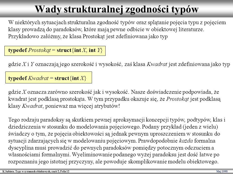 K.Subieta. Typy w systemach obiektowych, część 2, Folia 12 Maj 1998 Wady strukturalnej zgodności typów W niektórych sytuacjach strukturalna zgodność t