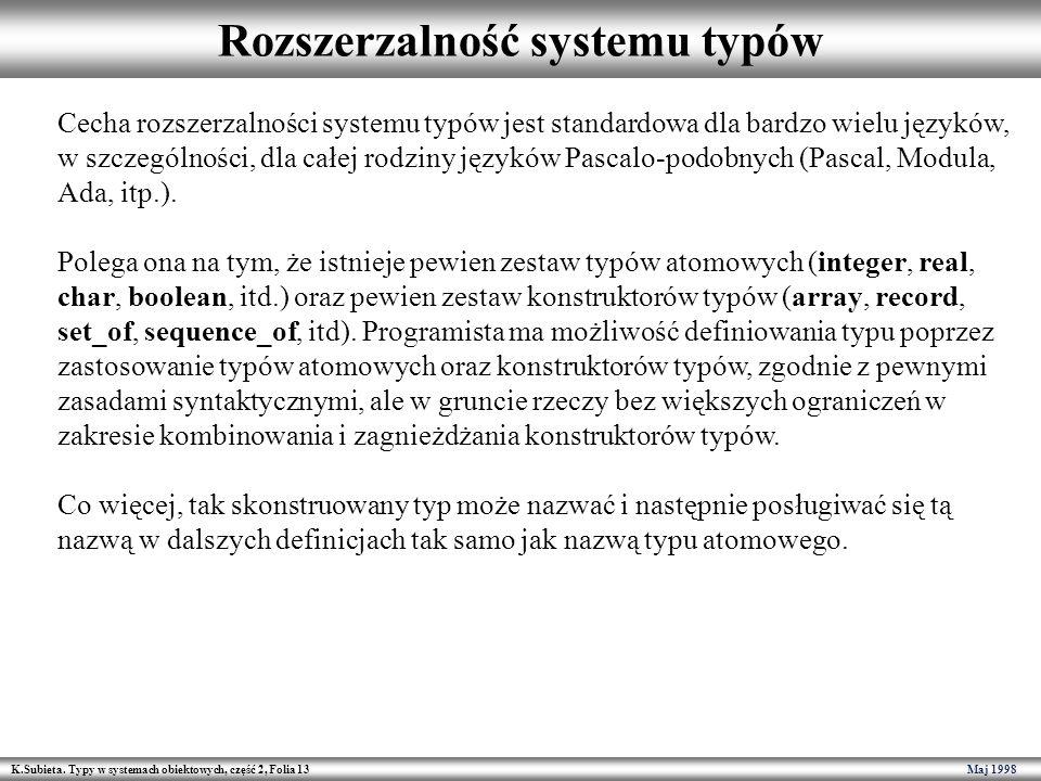 K.Subieta. Typy w systemach obiektowych, część 2, Folia 13 Maj 1998 Rozszerzalność systemu typów Cecha rozszerzalności systemu typów jest standardowa