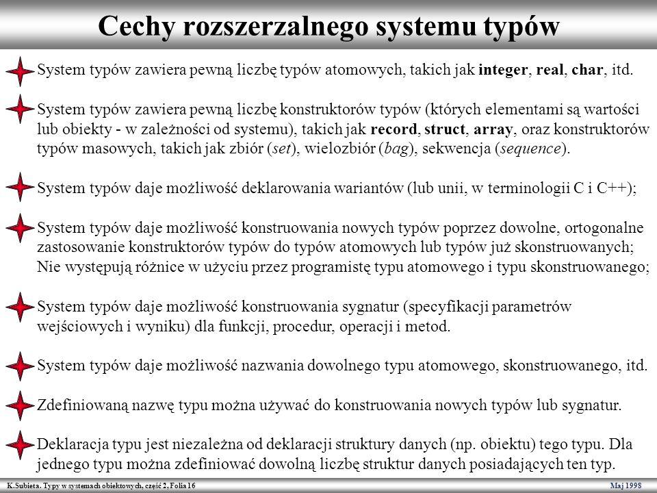 K.Subieta. Typy w systemach obiektowych, część 2, Folia 16 Maj 1998 Cechy rozszerzalnego systemu typów System typów zawiera pewną liczbę typów atomowy