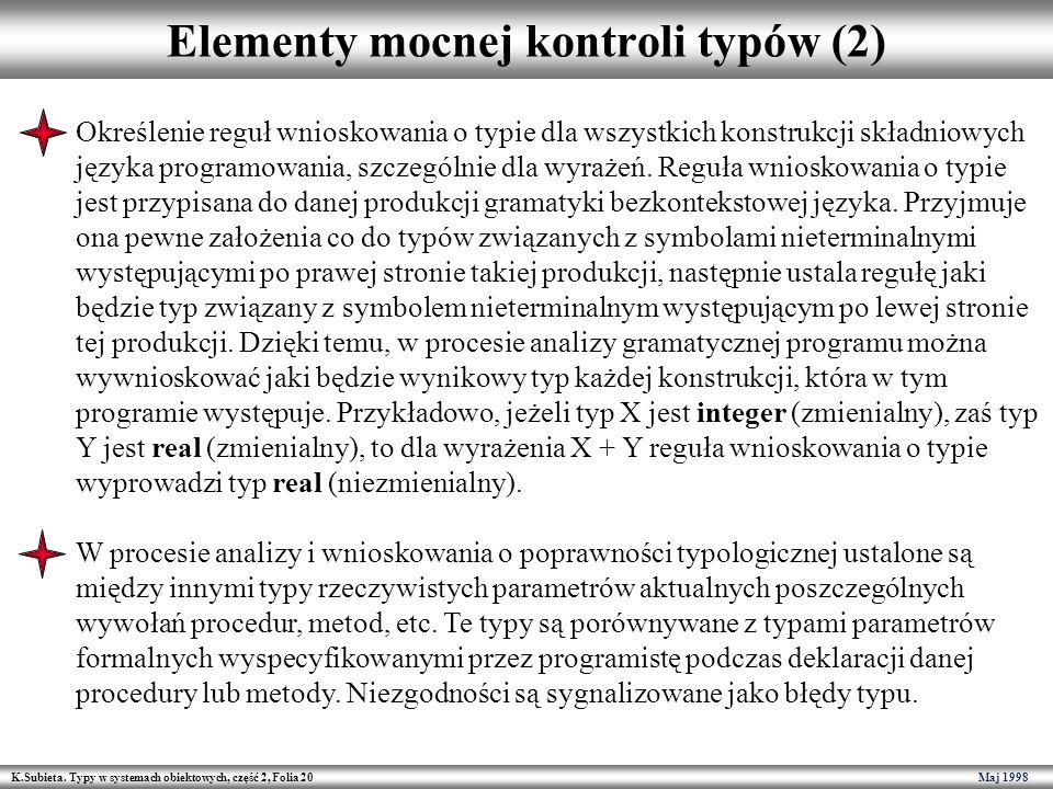 K.Subieta. Typy w systemach obiektowych, część 2, Folia 20 Maj 1998 Elementy mocnej kontroli typów (2) Określenie reguł wnioskowania o typie dla wszys