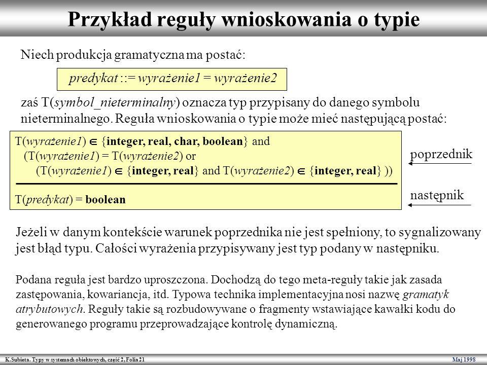 K.Subieta. Typy w systemach obiektowych, część 2, Folia 21 Maj 1998 Przykład reguły wnioskowania o typie Niech produkcja gramatyczna ma postać: predyk
