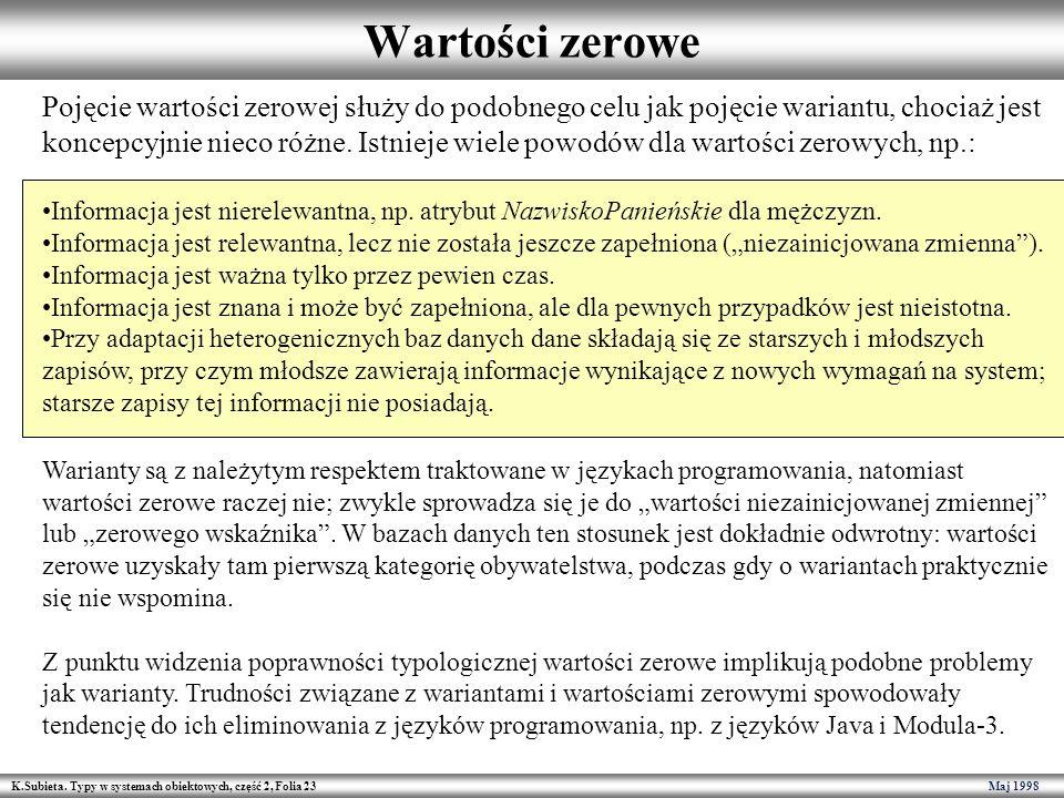 K.Subieta. Typy w systemach obiektowych, część 2, Folia 23 Maj 1998 Wartości zerowe Pojęcie wartości zerowej służy do podobnego celu jak pojęcie waria