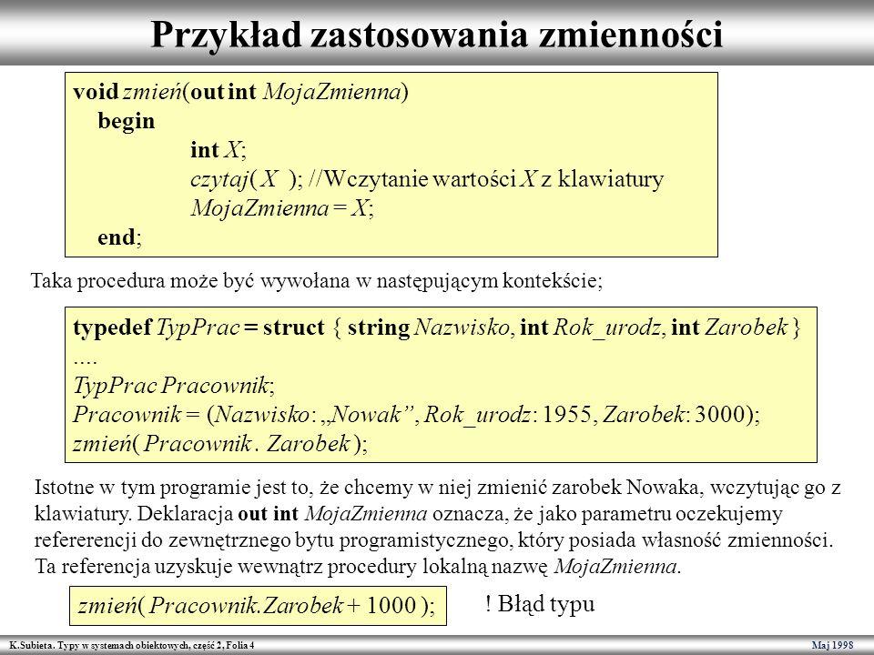 K.Subieta. Typy w systemach obiektowych, część 2, Folia 4 Maj 1998 Przykład zastosowania zmienności void zmień(out int MojaZmienna) begin int X; czyta