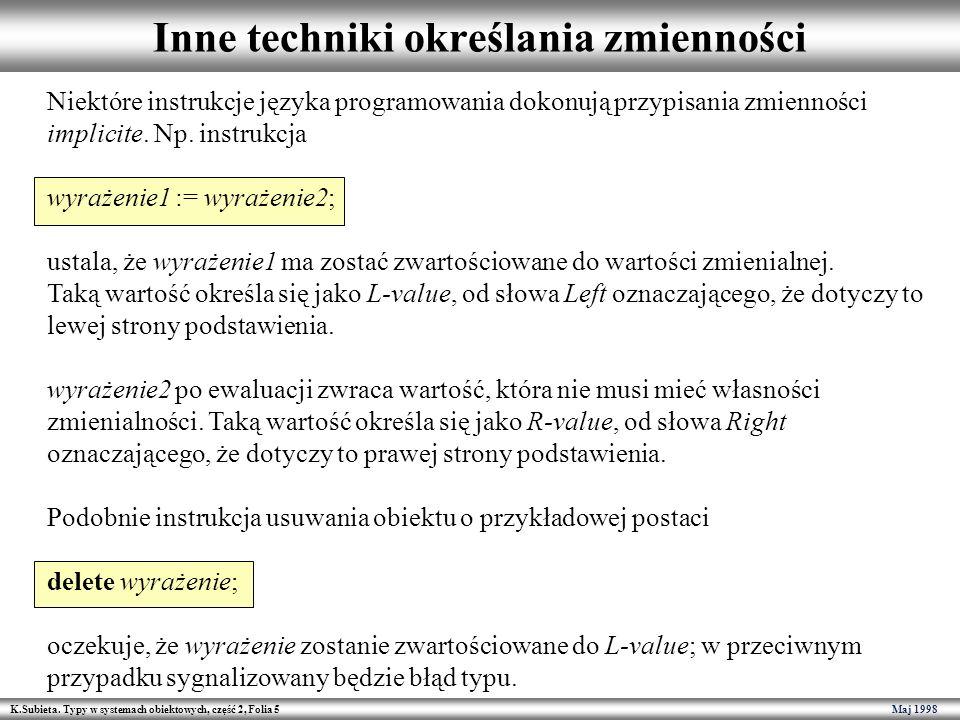 K.Subieta. Typy w systemach obiektowych, część 2, Folia 5 Maj 1998 Inne techniki określania zmienności Niektóre instrukcje języka programowania dokonu
