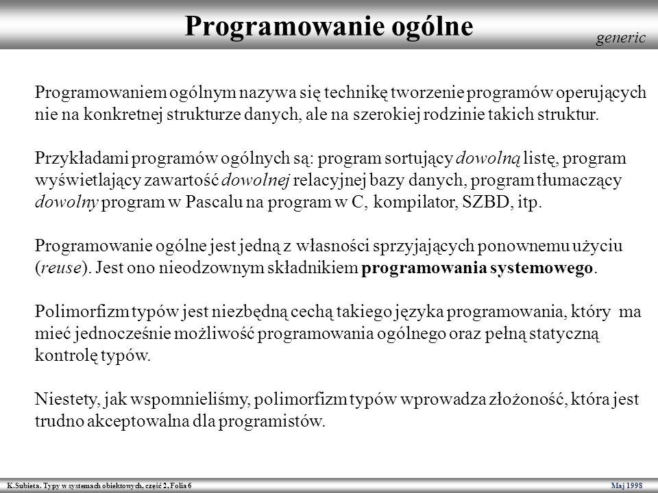 K.Subieta. Typy w systemach obiektowych, część 2, Folia 6 Maj 1998 Programowanie ogólne Programowaniem ogólnym nazywa się technikę tworzenie programów