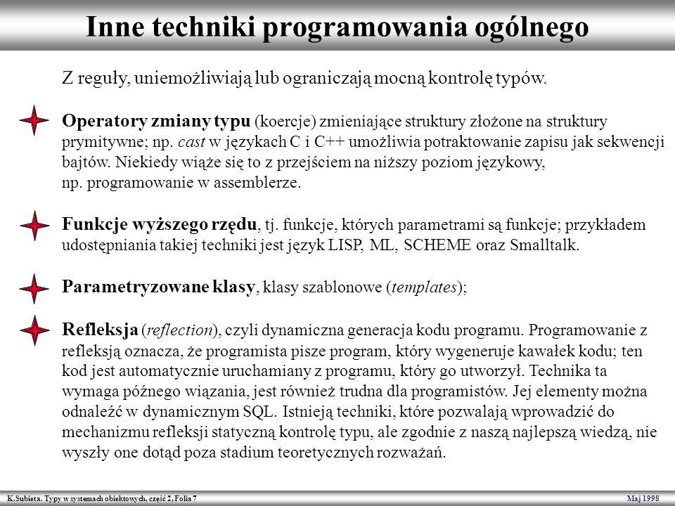K.Subieta. Typy w systemach obiektowych, część 2, Folia 7 Maj 1998 Inne techniki programowania ogólnego Z reguły, uniemożliwiają lub ograniczają mocną