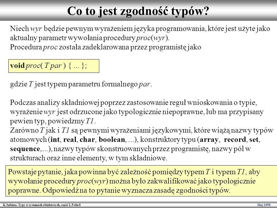 K.Subieta. Typy w systemach obiektowych, część 2, Folia 8 Maj 1998 Co to jest zgodność typów? Niech wyr będzie pewnym wyrażeniem języka programowania,