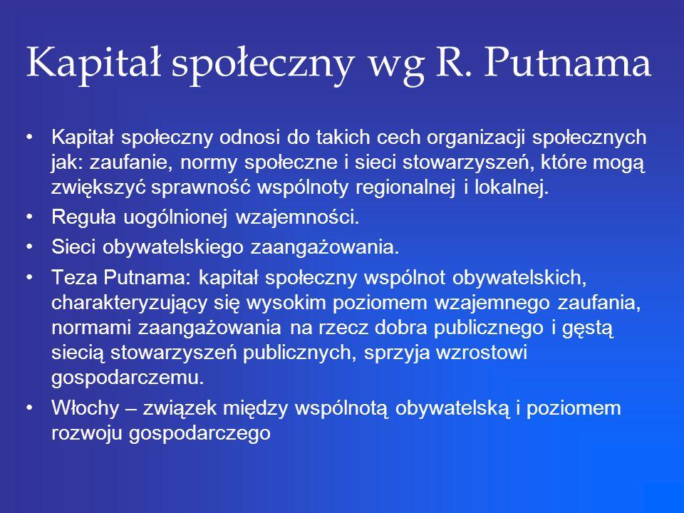 Kapitał społeczny wg R. Putnama Kapitał społeczny odnosi do takich cech organizacji społecznych jak: zaufanie, normy społeczne i sieci stowarzyszeń, k