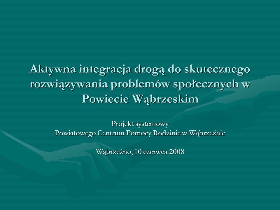 Podział środków na projekt systemowe dla Powiatowego Centrum Pomocy Rodzinie w Wąbrzeźnie w roku 2008 Kwota na aktywną integrację (kontrakty socjalne i programy aktywności lokalnej) Kwota na upowszechnianie pracy socjalnej (zatrudnienie kadry) Łączna wartość projektu Wysokość dotacji rozwojowej Wkład własny (budżet JST, FP, PFRON) 16.786,5736.863,1553.649,7248.016,505.633,22