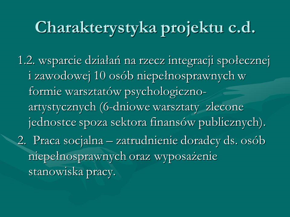Charakterystyka projektu c.d. 1.2. wsparcie działań na rzecz integracji społecznej i zawodowej 10 osób niepełnosprawnych w formie warsztatów psycholog