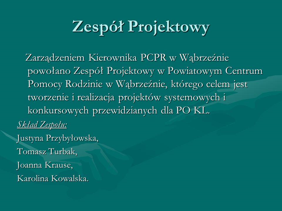 Zespół Projektowy Zarządzeniem Kierownika PCPR w Wąbrzeźnie powołano Zespół Projektowy w Powiatowym Centrum Pomocy Rodzinie w Wąbrzeźnie, którego cele