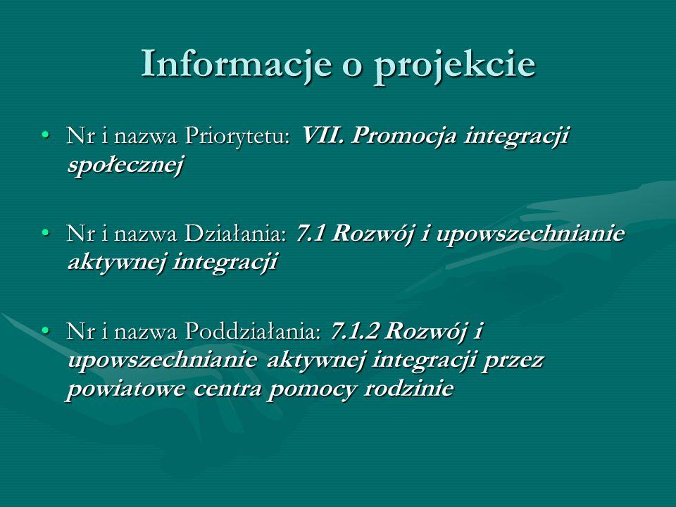 Informacje o projekcie Nr i nazwa Priorytetu: VII. Promocja integracji społecznejNr i nazwa Priorytetu: VII. Promocja integracji społecznej Nr i nazwa