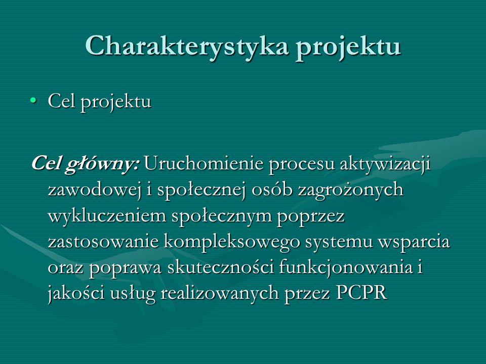 Charakterystyka projektu Cel projektuCel projektu Cel główny: Uruchomienie procesu aktywizacji zawodowej i społecznej osób zagrożonych wykluczeniem sp