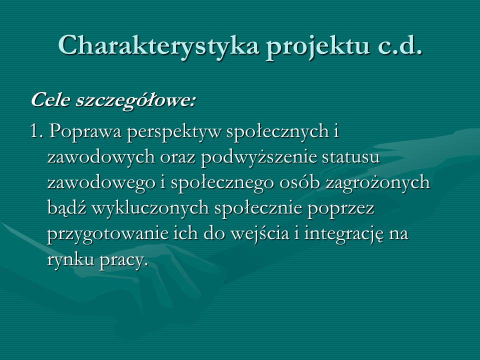 Charakterystyka projektu c.d. Cele szczegółowe: 1. Poprawa perspektyw społecznych i zawodowych oraz podwyższenie statusu zawodowego i społecznego osób