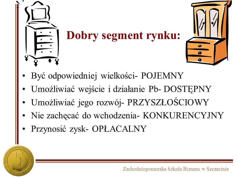 Zachodniopomorska Szkoła Biznesu w Szczecinie Dobry segment rynku: Być odpowiedniej wielkości- POJEMNY Umożliwiać wejście i działanie Pb- DOSTĘPNY Umo