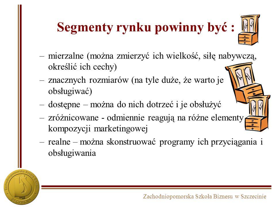 Zachodniopomorska Szkoła Biznesu w Szczecinie Segmenty rynku powinny być : –mierzalne (można zmierzyć ich wielkość, siłę nabywczą, określić ich cechy)