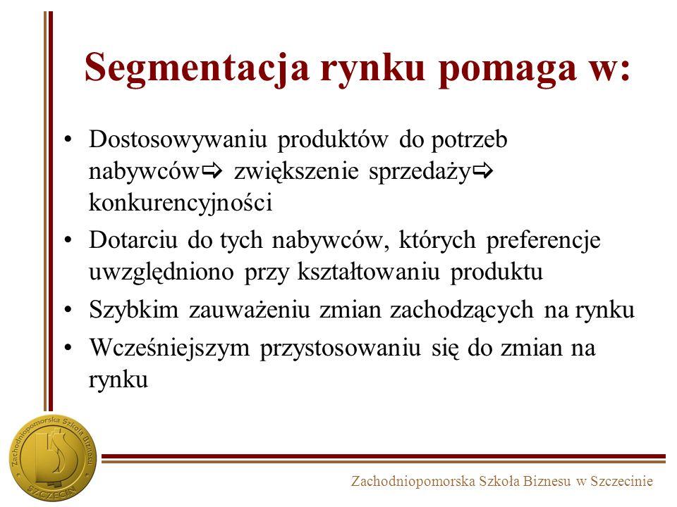 Zachodniopomorska Szkoła Biznesu w Szczecinie Segmentacja rynku pomaga w: Dostosowywaniu produktów do potrzeb nabywców zwiększenie sprzedaży konkurenc