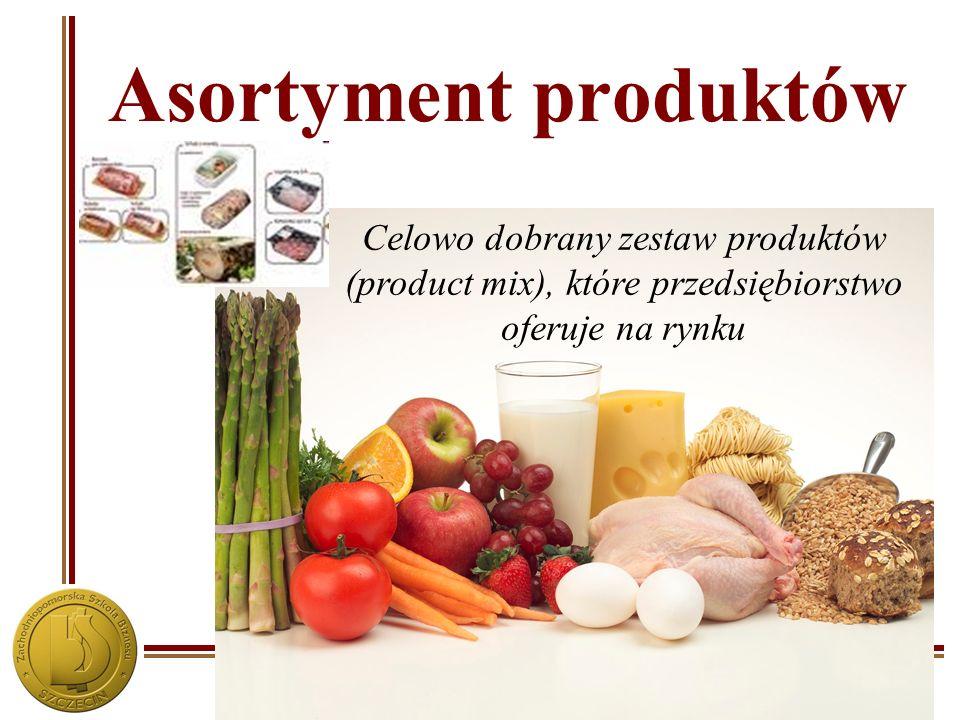 Zachodniopomorska Szkoła Biznesu w Szczecinie Asortyment produktów Celowo dobrany zestaw produktów (product mix), które przedsiębiorstwo oferuje na ry
