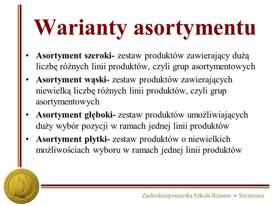 Zachodniopomorska Szkoła Biznesu w Szczecinie Warianty asortymentu Asortyment szeroki- zestaw produktów zawierający dużą liczbę różnych linii produktó