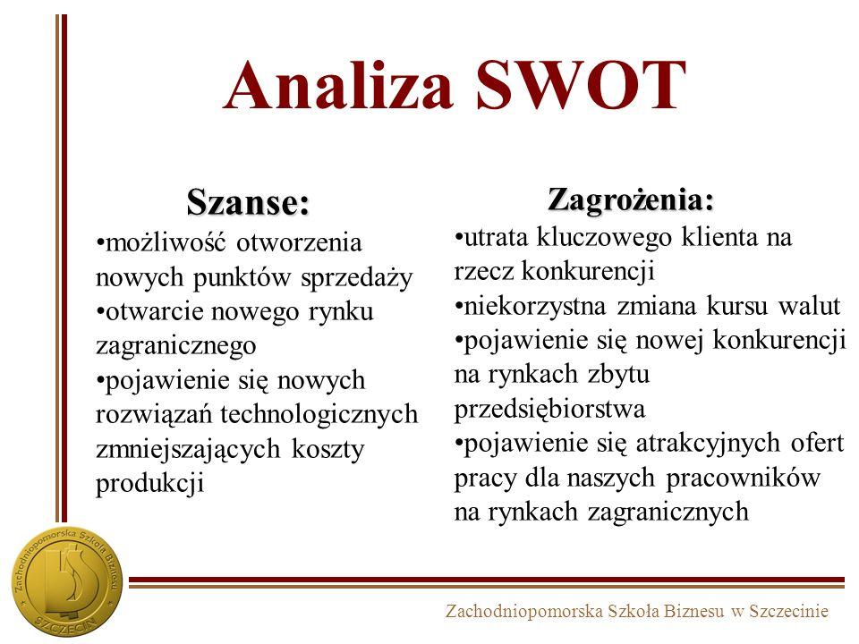 Zachodniopomorska Szkoła Biznesu w Szczecinie Analiza SWOT Szanse: możliwość otworzenia nowych punktów sprzedaży otwarcie nowego rynku zagranicznego p
