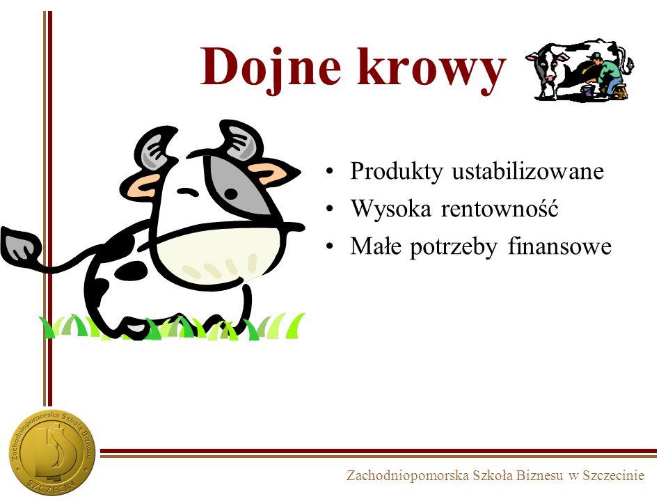 Zachodniopomorska Szkoła Biznesu w Szczecinie Dojne krowy Produkty ustabilizowane Wysoka rentowność Małe potrzeby finansowe