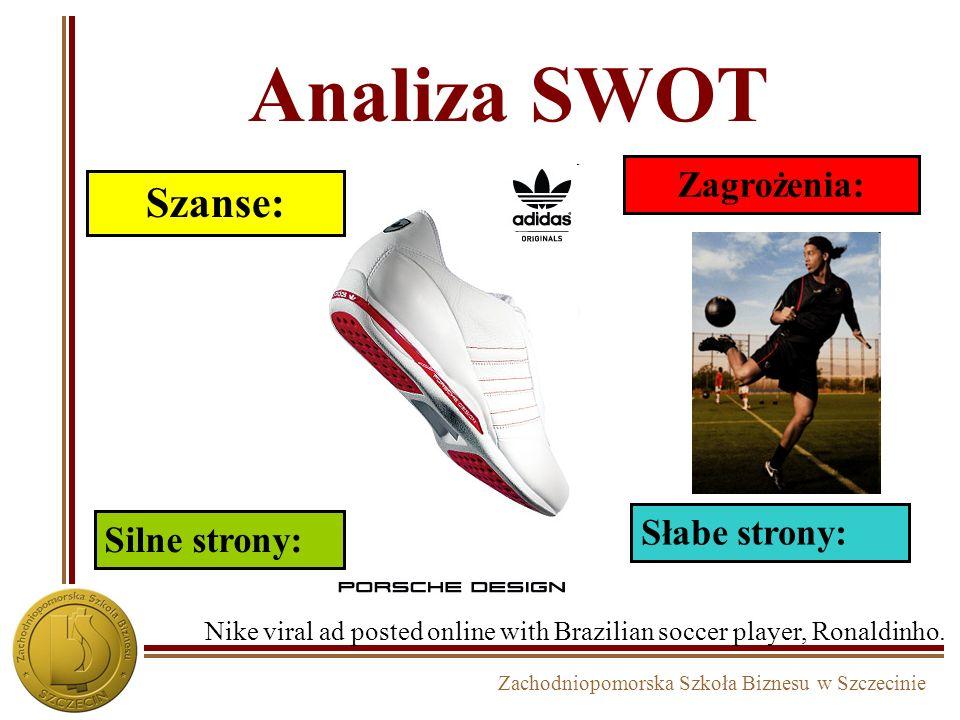 Zachodniopomorska Szkoła Biznesu w Szczecinie Analiza SWOT Szanse: Zagrożenia: Silne strony: Słabe strony: Nike viral ad posted online with Brazilian