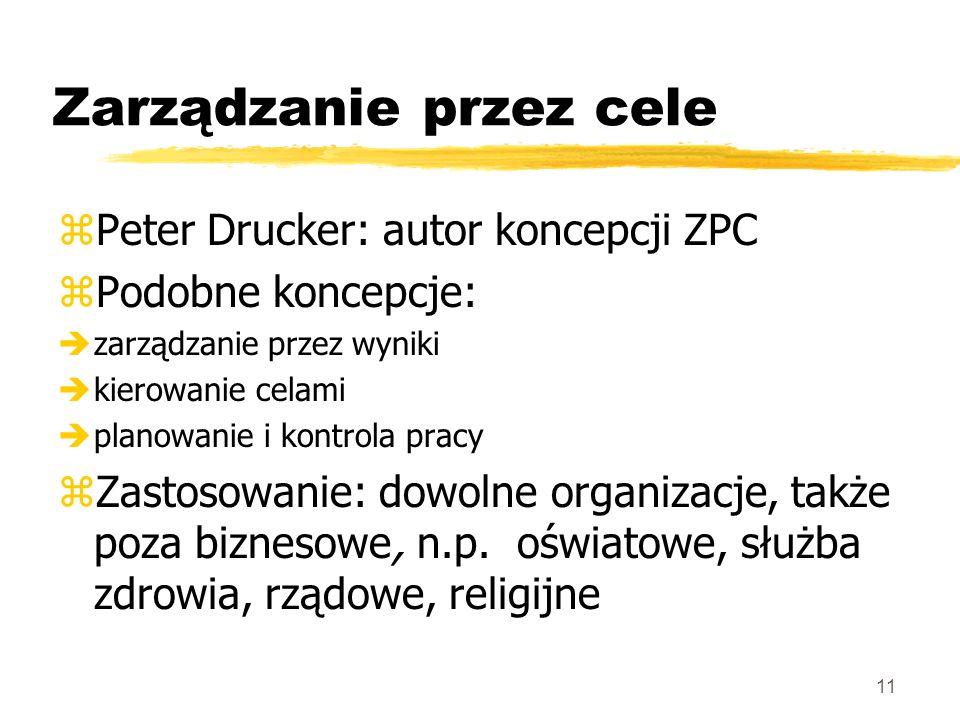 11 Zarządzanie przez cele zPeter Drucker: autor koncepcji ZPC zPodobne koncepcje: èzarządzanie przez wyniki èkierowanie celami èplanowanie i kontrola