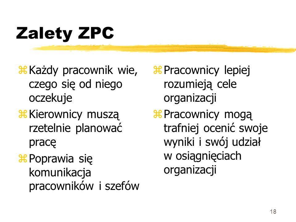 18 Zalety ZPC zKażdy pracownik wie, czego się od niego oczekuje zKierownicy muszą rzetelnie planować pracę zPoprawia się komunikacja pracowników i sze