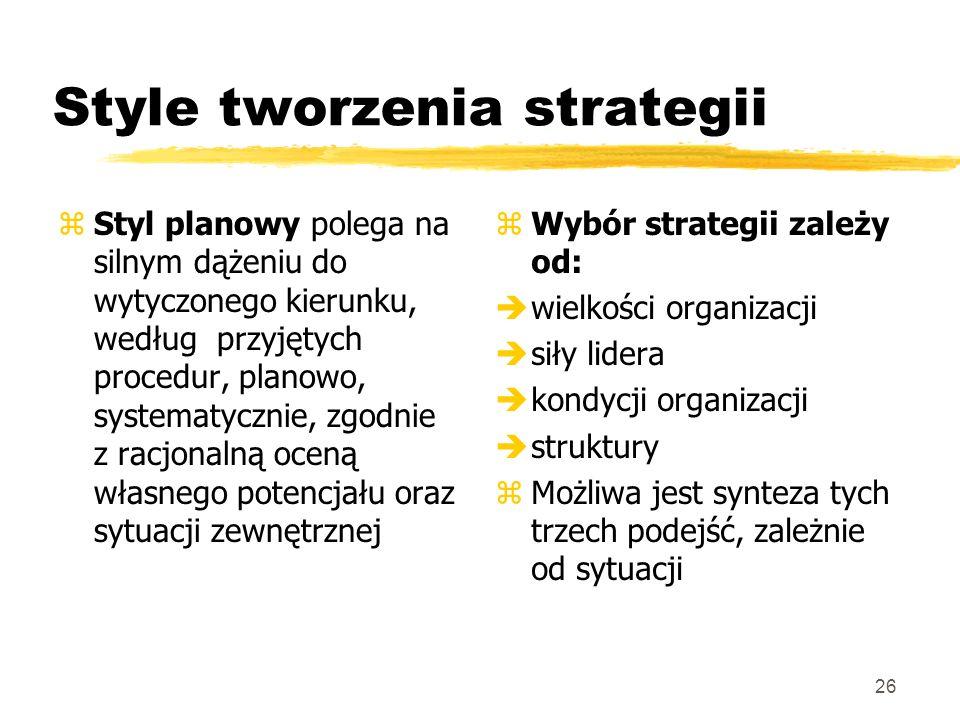 26 Style tworzenia strategii zStyl planowy polega na silnym dążeniu do wytyczonego kierunku, według przyjętych procedur, planowo, systematycznie, zgod
