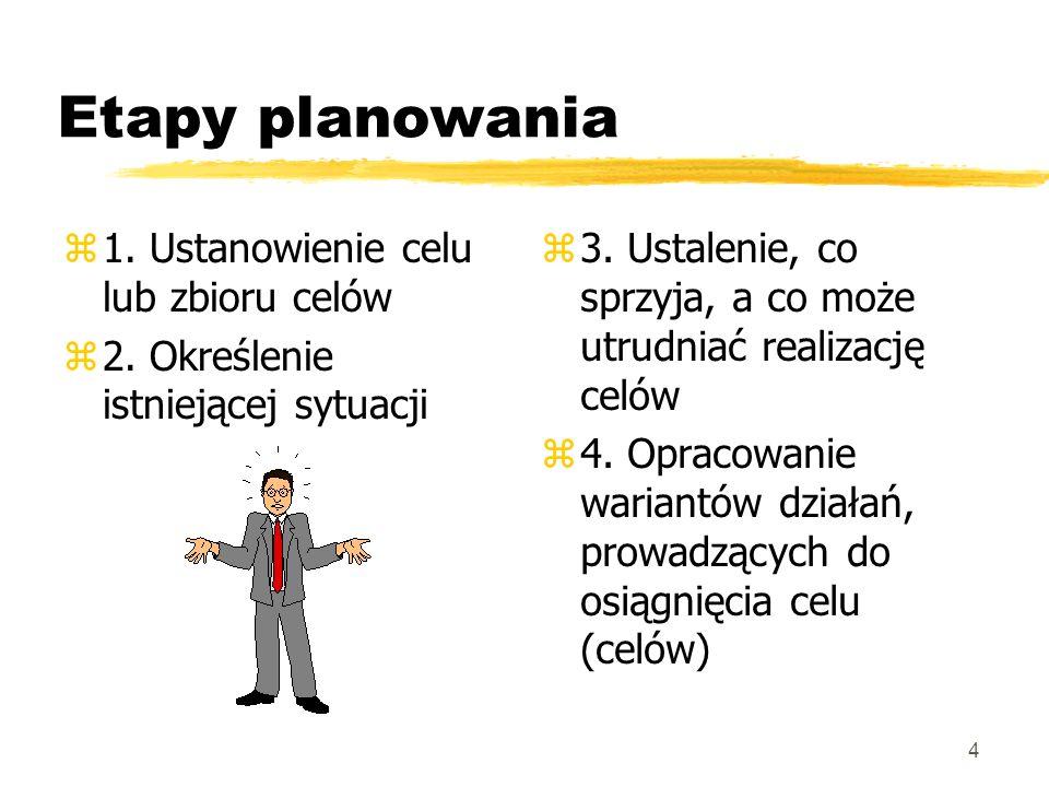 5 Rodzaje planów: zStrategiczne (dotyczące ogólnych celów organizacji - realizacji jej misji) zOperacyjne (dotyczące sposobów realizacji planów strategicznych) z Podział planów operacyjnych: è jednorazowe, dotyczące realizacji konkretnego celu è trwale obowiązujące, (normy i procedury działań w sytuacjach typowych)