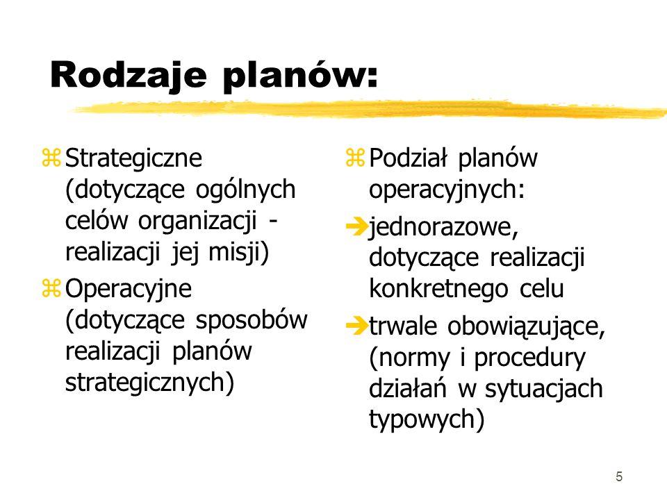 5 Rodzaje planów: zStrategiczne (dotyczące ogólnych celów organizacji - realizacji jej misji) zOperacyjne (dotyczące sposobów realizacji planów strate