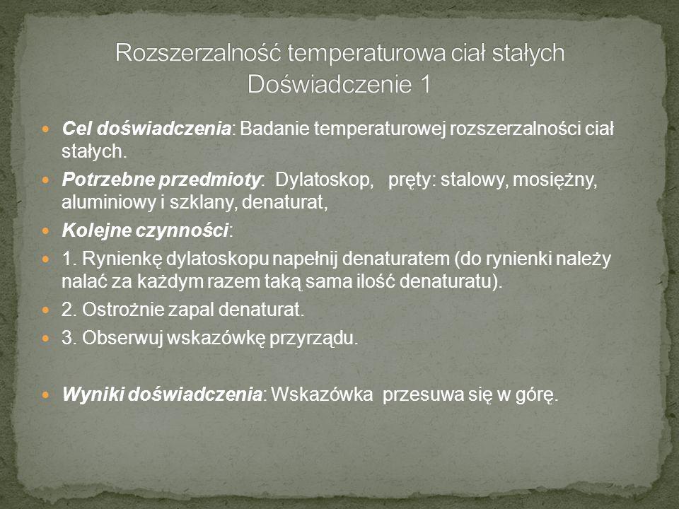 Cel doświadczenia: Badanie temperaturowej rozszerzalności ciał stałych. Potrzebne przedmioty: Dylatoskop, pręty: stalowy, mosiężny, aluminiowy i szkla