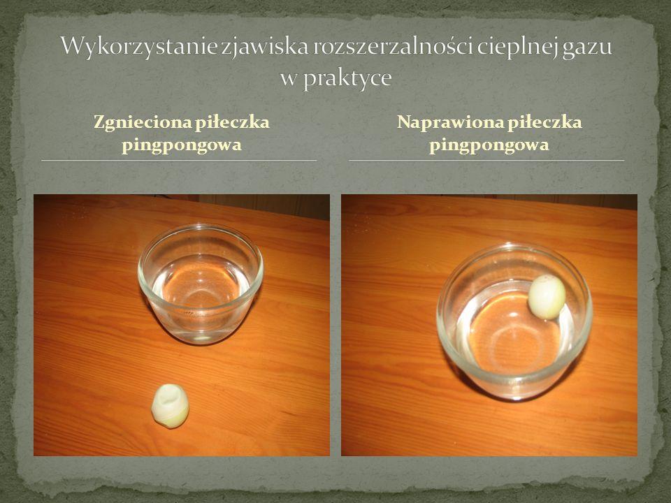 Zgnieciona piłeczka pingpongowa Naprawiona piłeczka pingpongowa