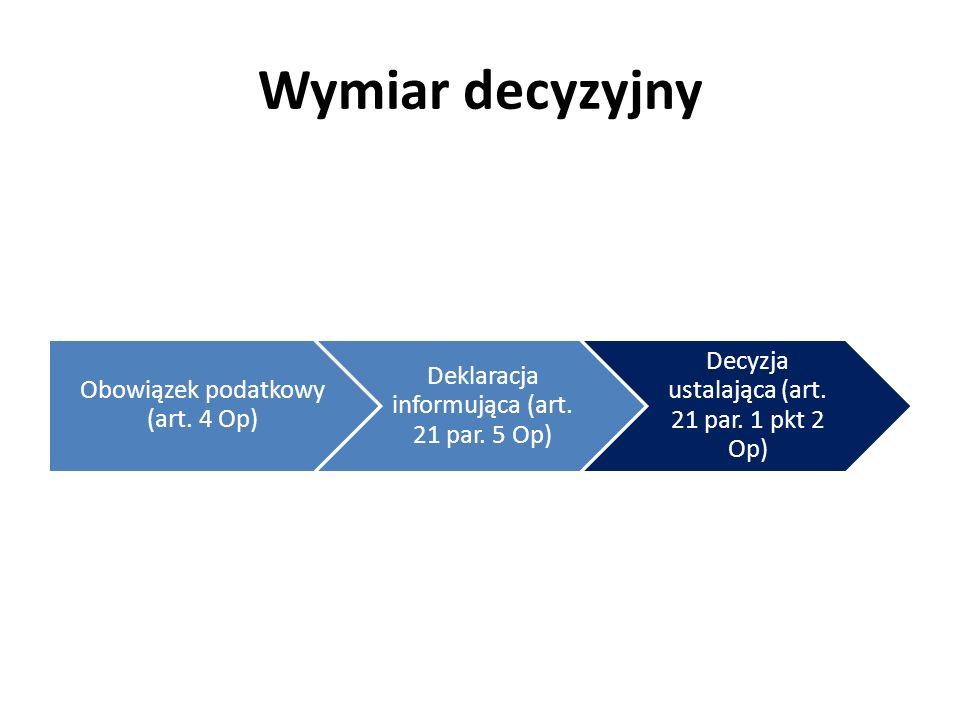 Wymiar decyzyjny Obowiązek podatkowy (art. 4 Op) Deklaracja informująca (art. 21 par. 5 Op) Decyzja ustalająca (art. 21 par. 1 pkt 2 Op)