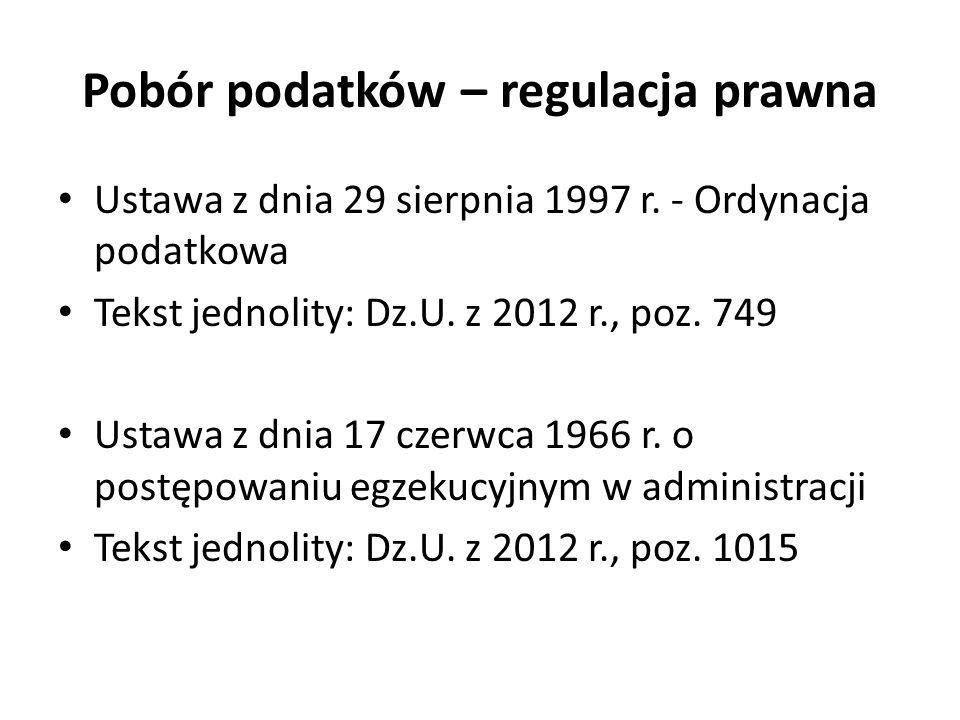 Pobór podatków – regulacja prawna Ustawa z dnia 29 sierpnia 1997 r. - Ordynacja podatkowa Tekst jednolity: Dz.U. z 2012 r., poz. 749 Ustawa z dnia 17