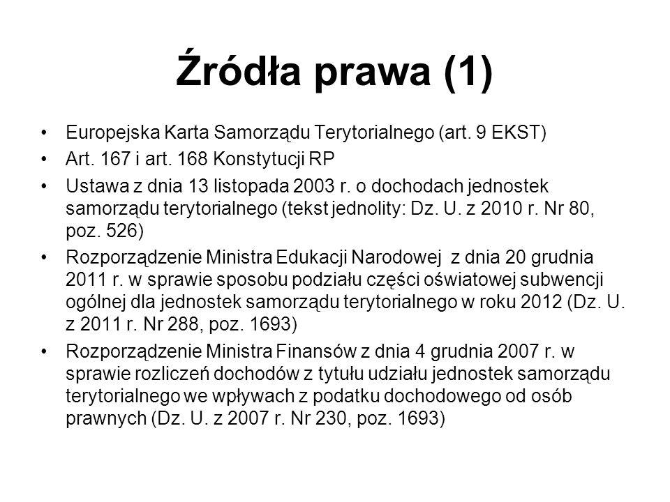 Źródła prawa (1) Europejska Karta Samorządu Terytorialnego (art. 9 EKST) Art. 167 i art. 168 Konstytucji RP Ustawa z dnia 13 listopada 2003 r. o docho