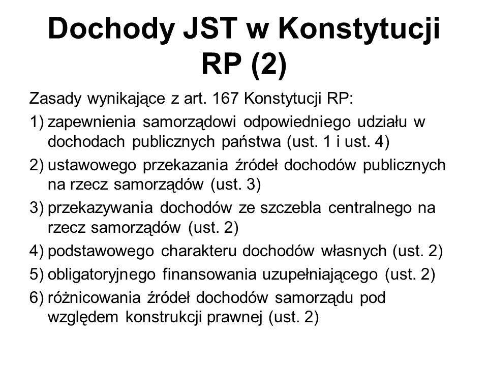 Dochody JST w Konstytucji RP (2) Zasady wynikające z art. 167 Konstytucji RP: 1)zapewnienia samorządowi odpowiedniego udziału w dochodach publicznych