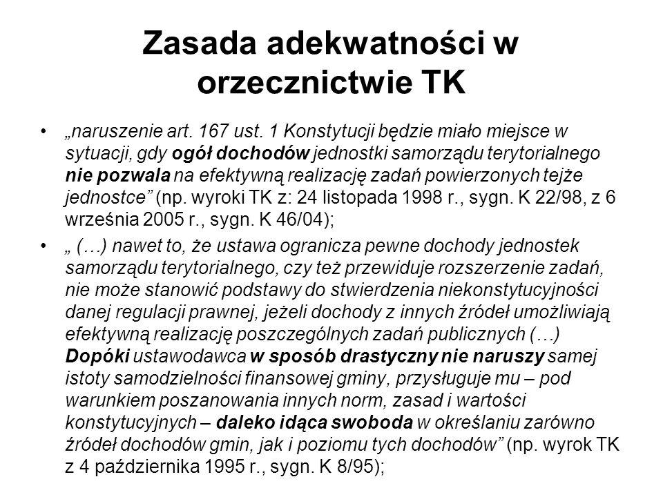 Zasada adekwatności w orzecznictwie TK naruszenie art. 167 ust. 1 Konstytucji będzie miało miejsce w sytuacji, gdy ogół dochodów jednostki samorządu t