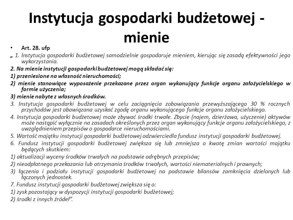 Instytucja gospodarki budżetowej - mienie Art. 28. ufp 1. Instytucja gospodarki budżetowej samodzielnie gospodaruje mieniem, kierując się zasadą efekt