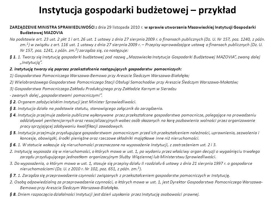 Instytucja gospodarki budżetowej – przykład ZARZĄDZENIE MINISTRA SPRAWIEDLIWOŚCI z dnia 29 listopada 2010 r. w sprawie utworzenia Mazowieckiej Instytu