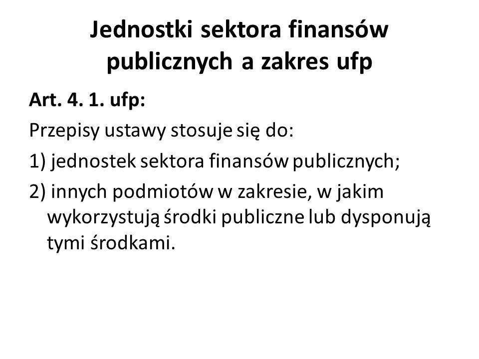 Jednostki sektora finansów publicznych a zakres ufp Art. 4. 1. ufp: Przepisy ustawy stosuje się do: 1) jednostek sektora finansów publicznych; 2) inny