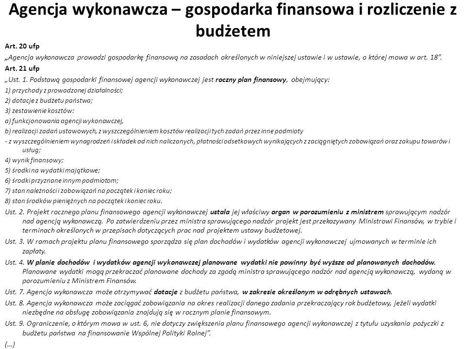 Agencja wykonawcza – gospodarka finansowa i rozliczenie z budżetem Art. 20 ufp Agencja wykonawcza prowadzi gospodarkę finansową na zasadach określonyc